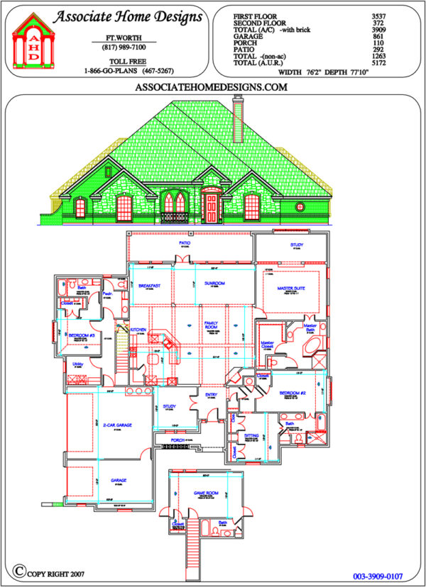 3 bedrooms, 4-5 bathrooms house plan