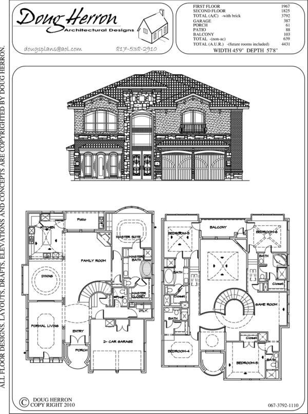 5 bedrooms, 5-5 bathrooms house plan