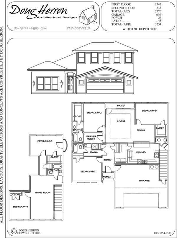 5 bedrooms, 3-5 bathrooms house plan