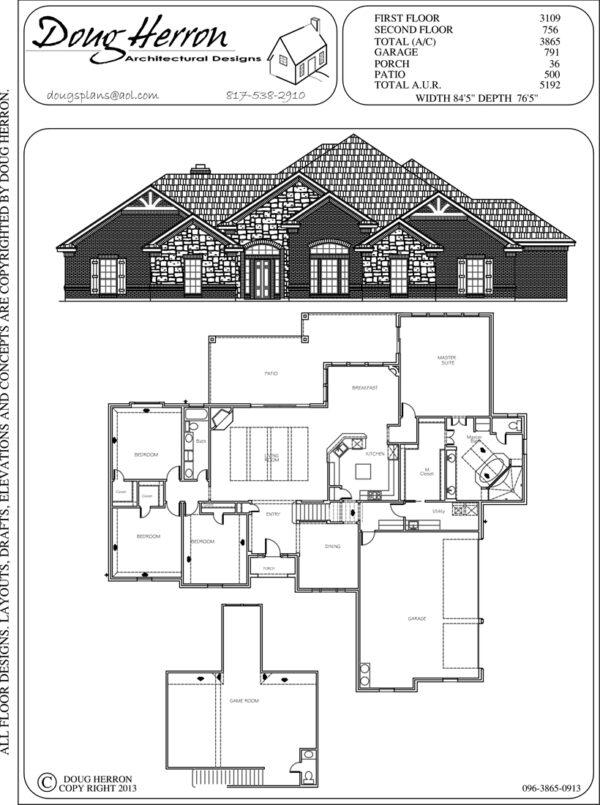 4 bedrooms, 2-5 bathrooms house plan