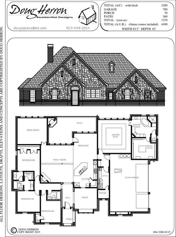 4 bedrooms, 3 bathrooms house plan