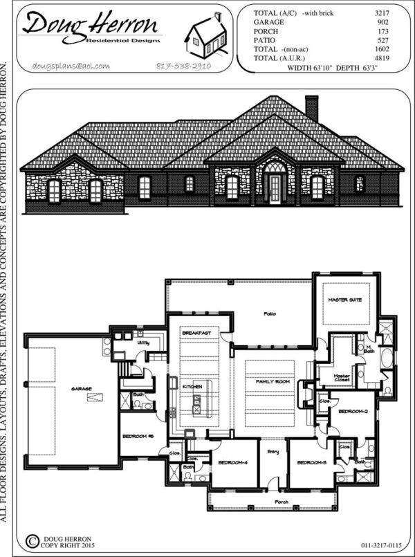 5 bedrooms, 4 bathrooms house plan