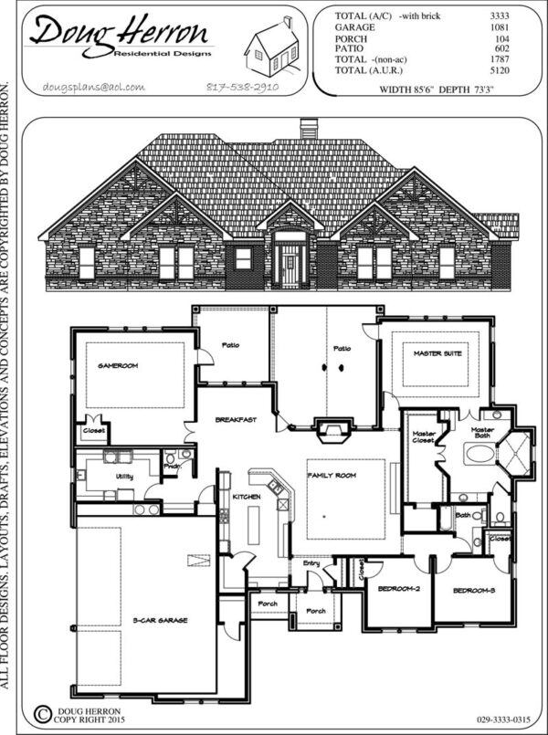 3 bedrooms, 2-5 bathrooms house plan