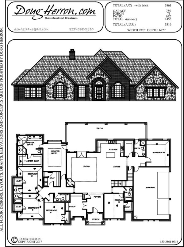 5 bedrooms, 5 bathrooms house plan