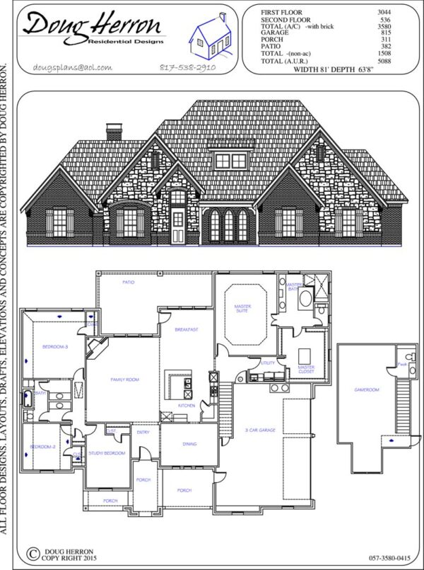 4 bedrooms, 2-5 bathrooms house plan