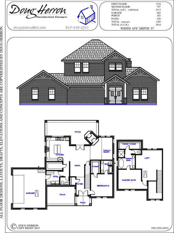 2 bedrooms, 2-5 bathrooms house plan