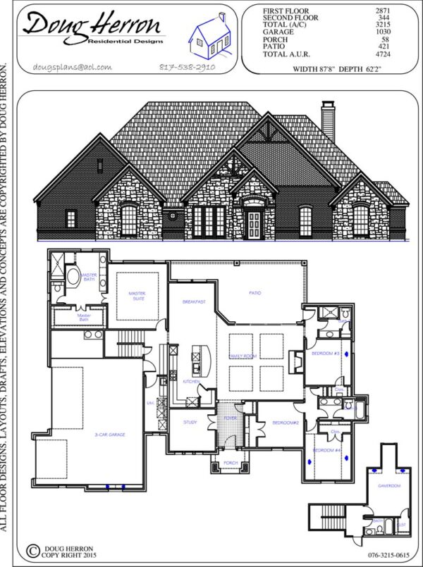 4 bedrooms, 4 bathrooms house plan