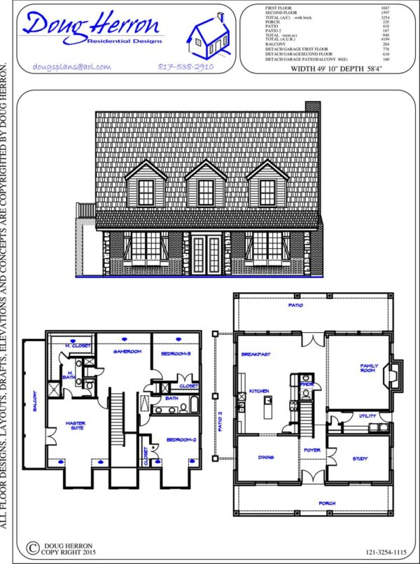 3 bedrooms, 2-5 bathrooms house plan