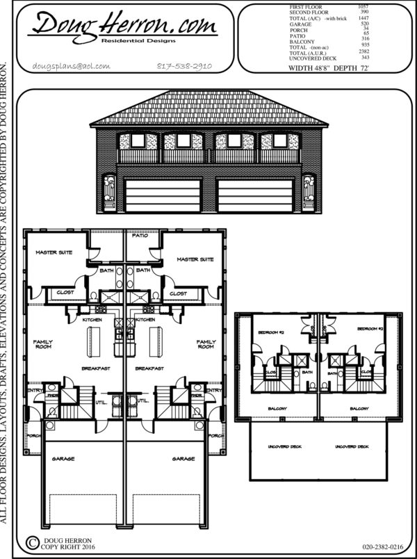 2 bedrooms, 2.5 bathrooms house plan