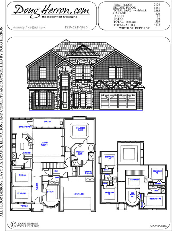 6 bedrooms, 3-5 bathrooms house plan