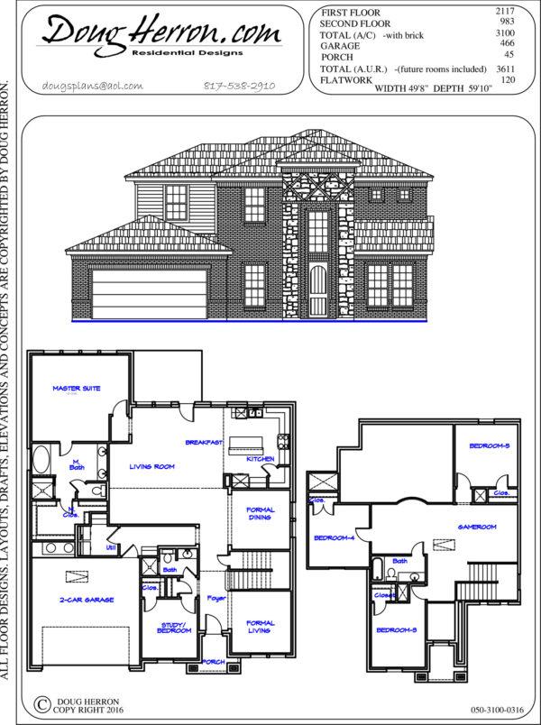 5 bedrooms, 3 bathrooms house plan