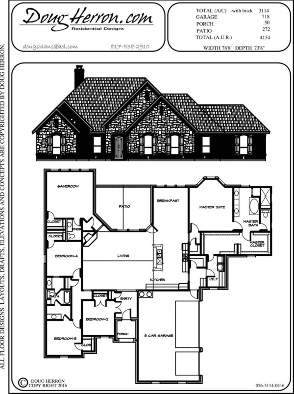 4 bedrooms, 2.5 bathrooms house plan