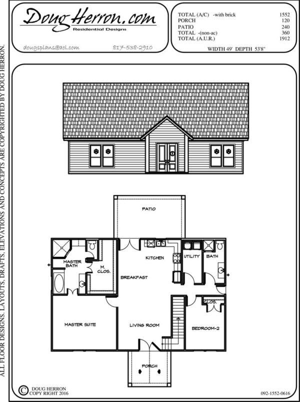 2 bedrooms, 2 bathrooms house plan