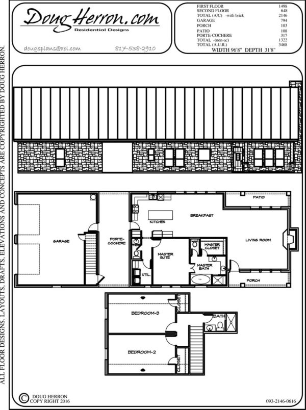 3 bedrooms, 2 bathrooms house plan