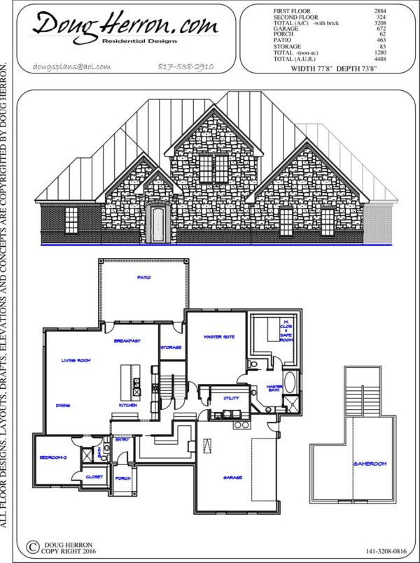 2 bedrooms, 2 bathrooms house plan