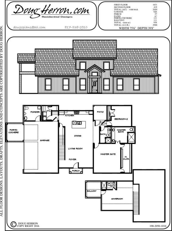 2 bedrooms, 3.5 bathrooms house plan