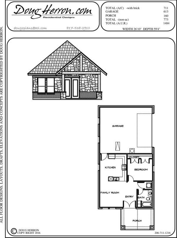 1 bedrooms, 1 bathrooms house plan