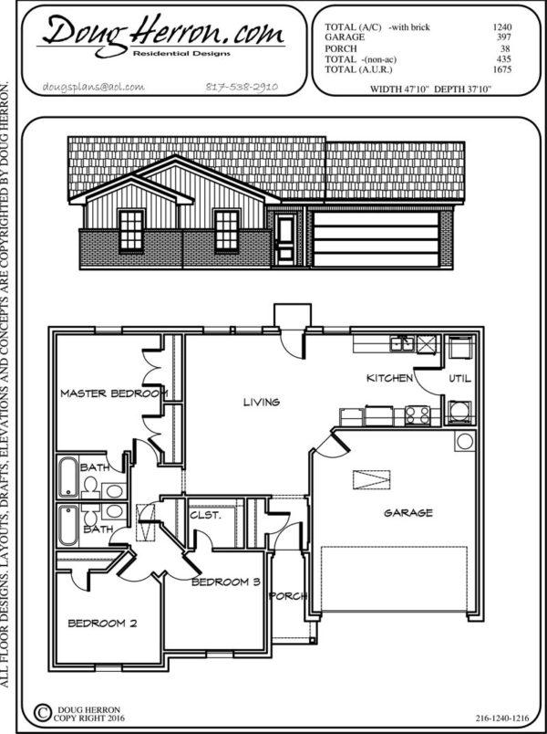 3 bedrooms, 2 bathrooms house plan