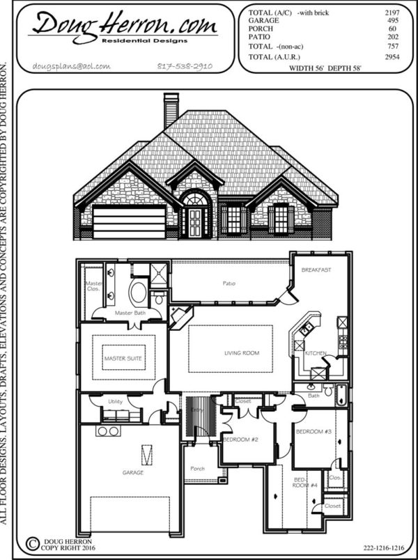 4 bedrooms, 2 bathrooms house plan