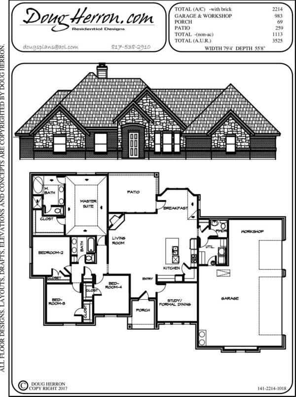 4 bedrooms, 2.5 bathrooms house plan