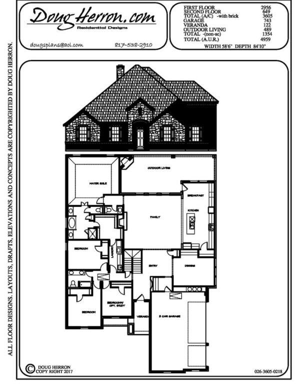 4 bedrooms, 2..5 bathrooms house plan