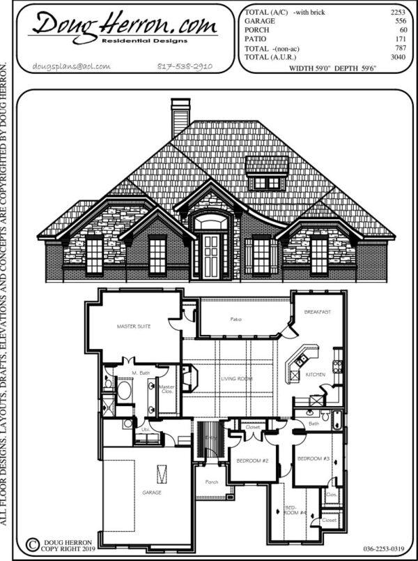 4 bedrooms, 2 bathrooms house plan