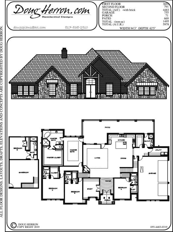 5 bedrooms, 6 bathrooms house plan