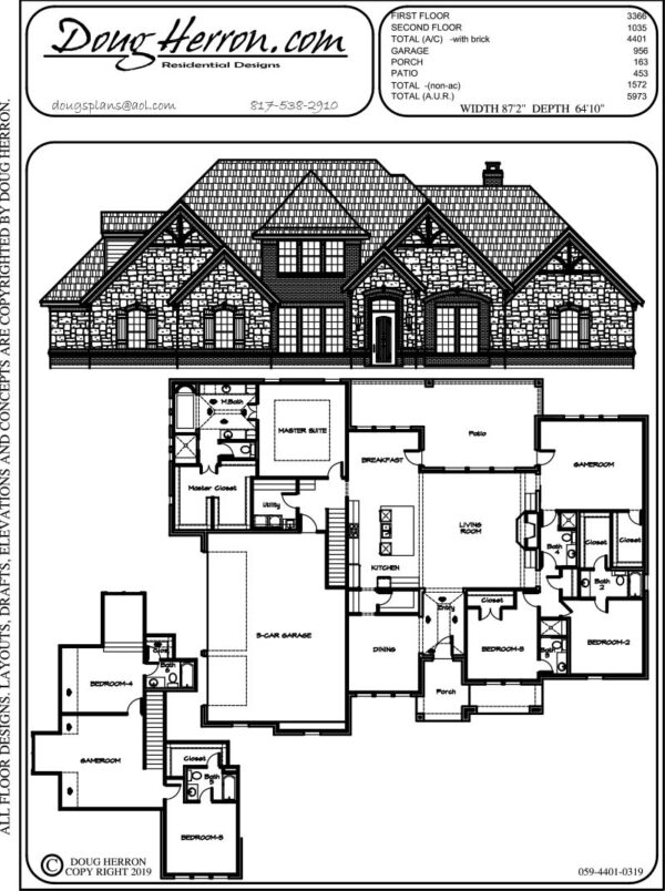 6 bedrooms, 6 bathrooms house plan