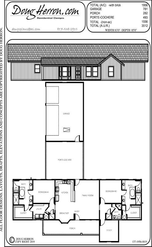 2 bedrooms, 3 bathrooms house plan