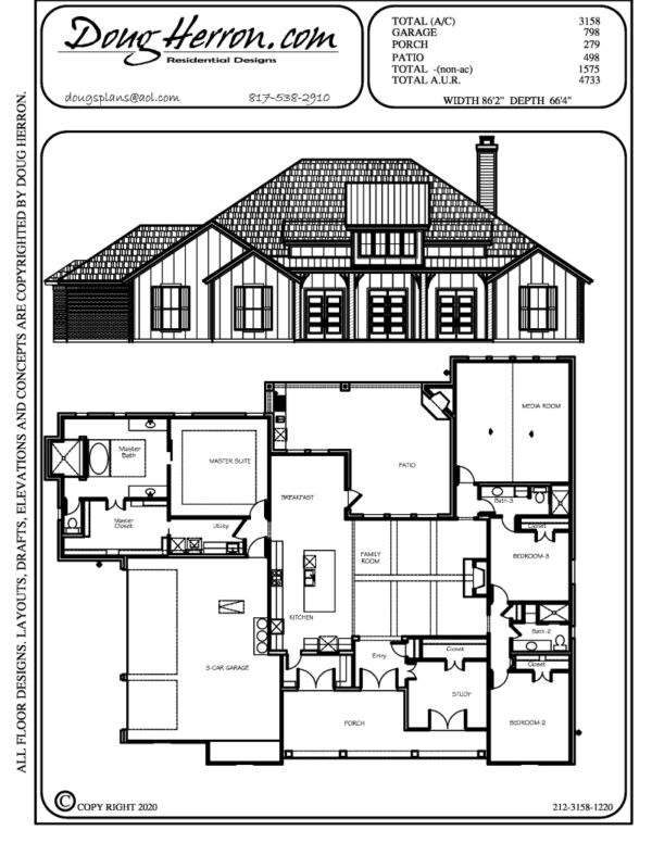 4 bedrooms, 3 bathrooms house plan