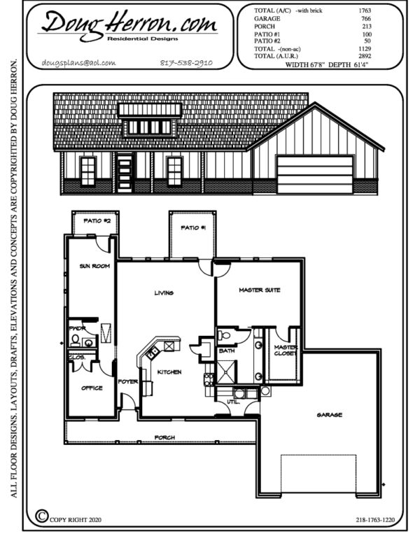 2 bedrooms, 1.5 bathrooms house plan