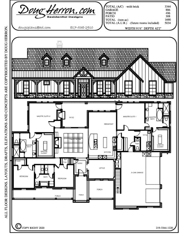 4 bedrooms, 3.5 bathrooms house plan