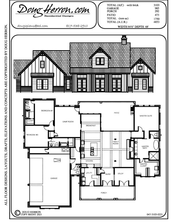 3 bedrooms, 3.5 bathrooms house plan