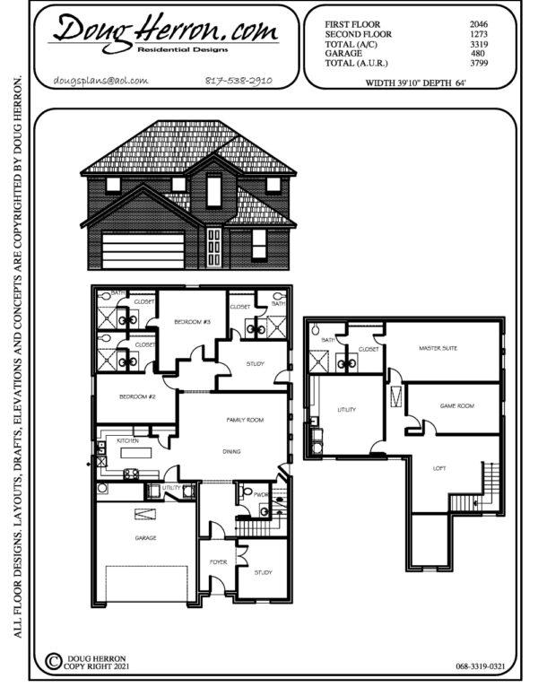 3 bedrooms, 4 bathrooms house plan