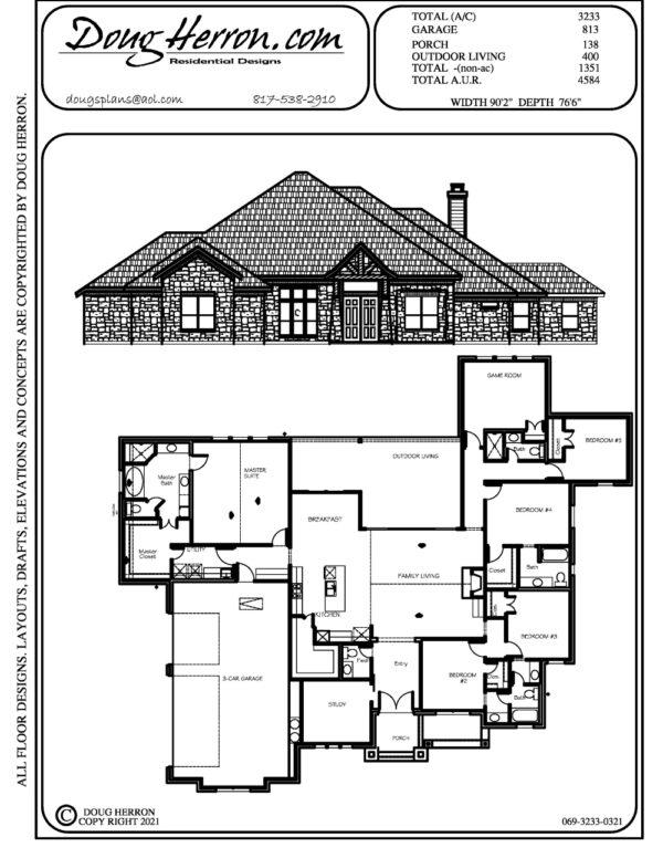 5 bedrooms, 4.5 bathrooms house plan