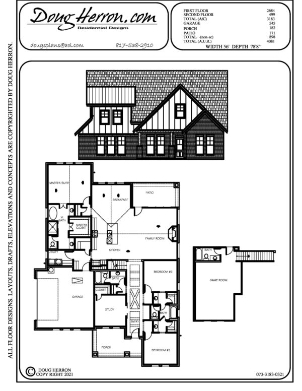 3 bedrooms, 4 bathrooms house plan