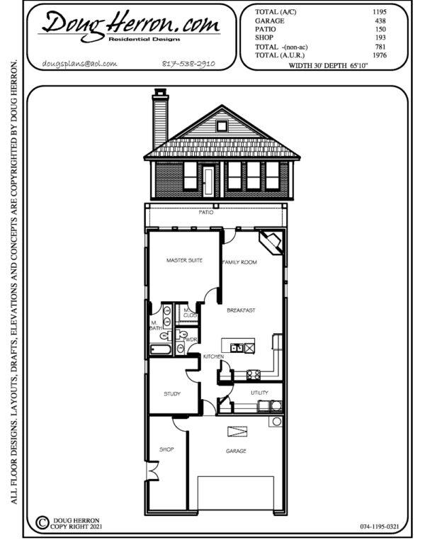 1 bedrooms, 1.5 bathrooms house plan
