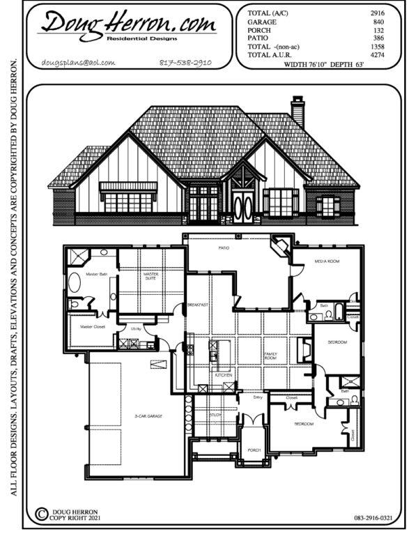 3 bedrooms, 3 bathrooms house plan