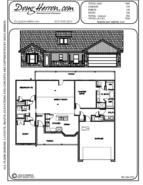 2 bedrooms, 2.5 bathrooms house plan