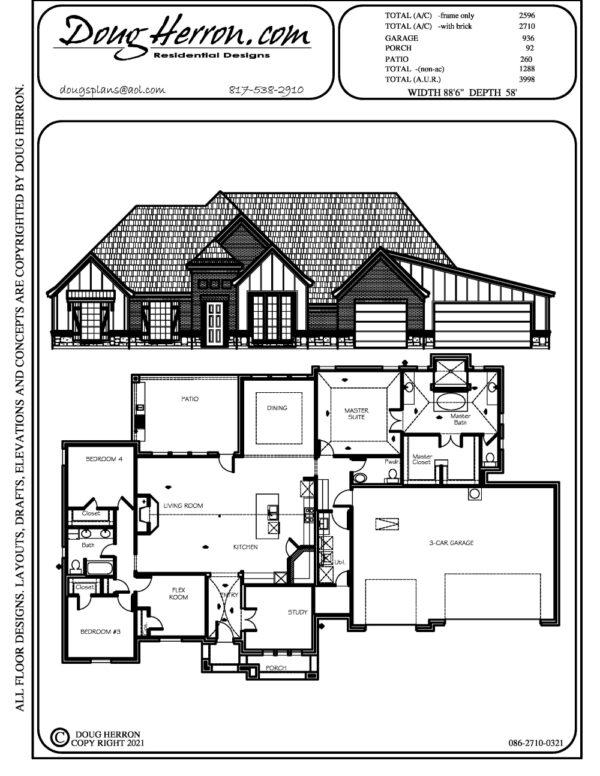 1 bedrooms, 2.5 bathrooms house plan