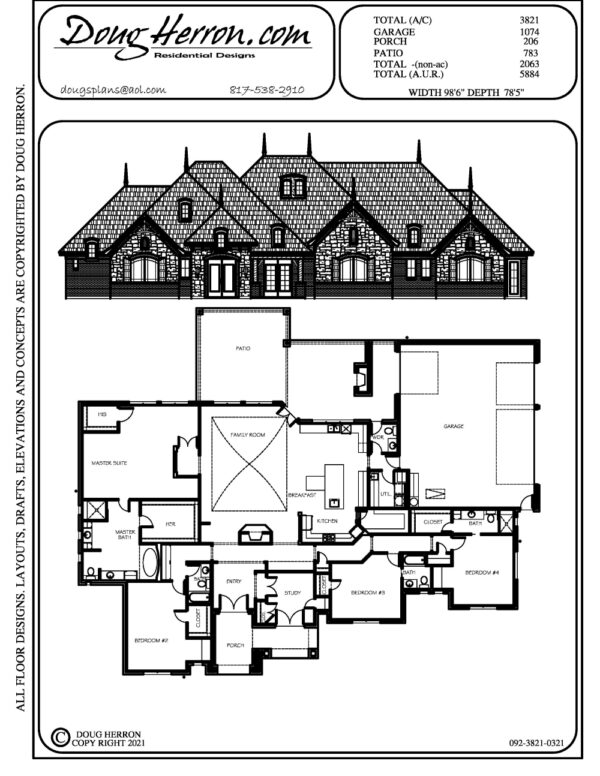 4 bedrooms, 4.5 bathrooms house plan