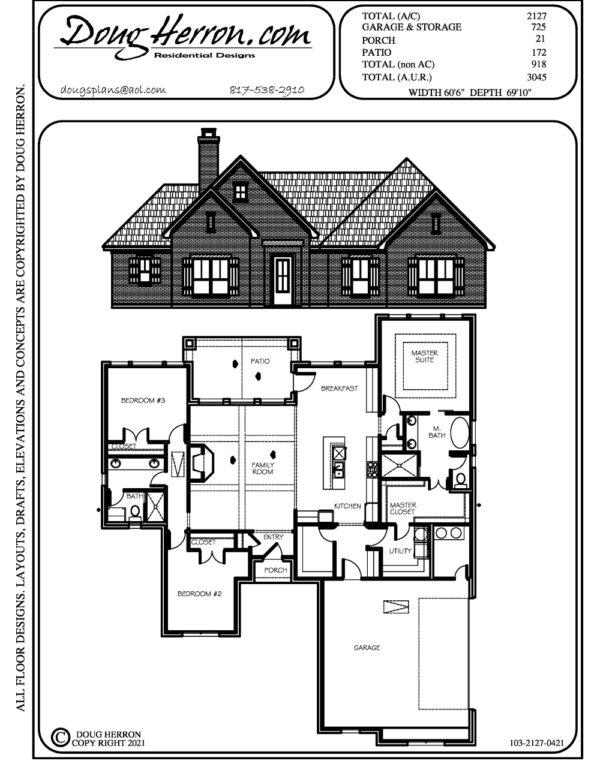 1 bedrooms, 2 bathrooms house plan