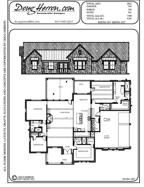 3 bedrooms, 3.5 bathrooms house plan