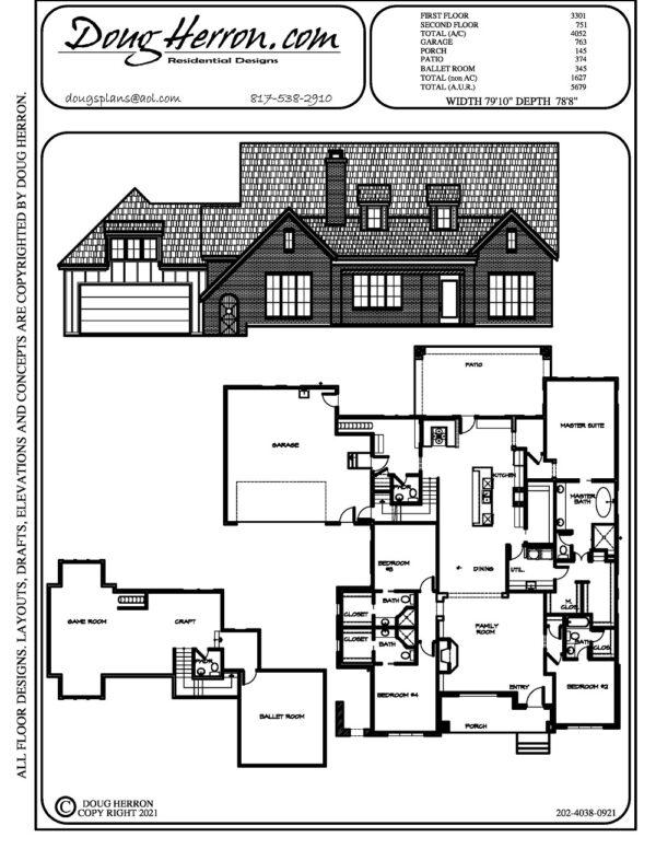 4 bedrooms, 5 bathrooms house plan